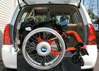 ウインチェアで車いすを吊り上げている途中 ウインチェアへのリンク 別ウインドウで表示